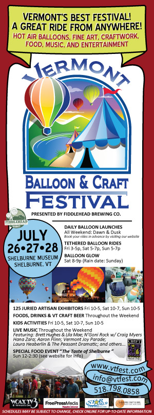 Advertising for the Vermont Balloon and Craft Festival, July 2013