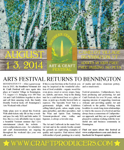 Advertising for the Southern Vermont Art & Craft Festival, held annually in Bennington, Vermont. Copy and ad design by Amanda Polson.
