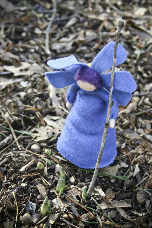 blue felt flower doll