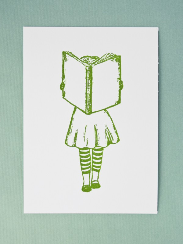 little reader girl letterpress print