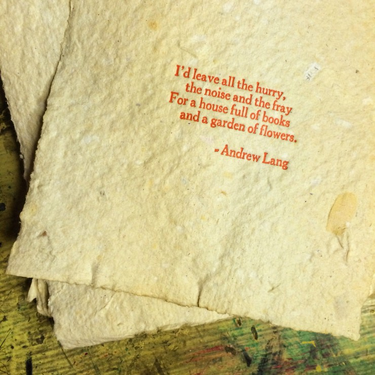 charlottesville virginia handprinted letterpress poetry on handmade recycled paper